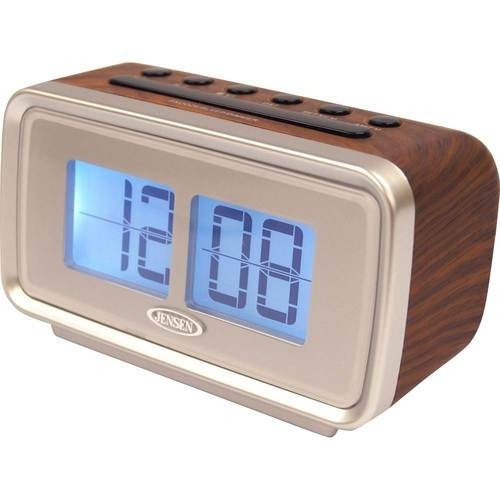 JENSEN - AM/FM Dual-Alarm Clock Radio with Digital Retro Flip Display