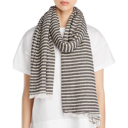 EILEEN FISHER Crinkle Cotton Stripe Scarf