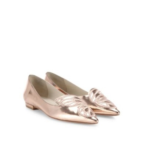 Bibi Butterfly-Embroidered Metallic Leather Flats