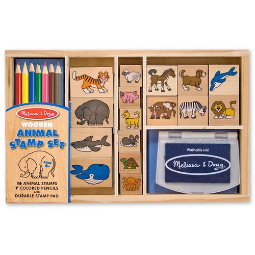 Melissa & Doug Wooden Stamp Set: Animals - 16 Stamps, 7 Colored Pencils, Stamp Pad