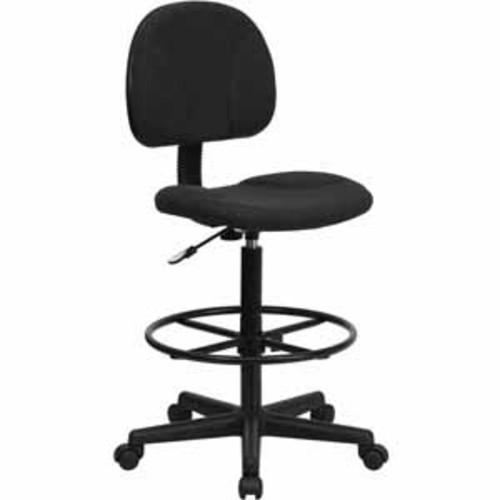 Flash Furniture Black Patterned Fabric Ergonomic Drafting Chair