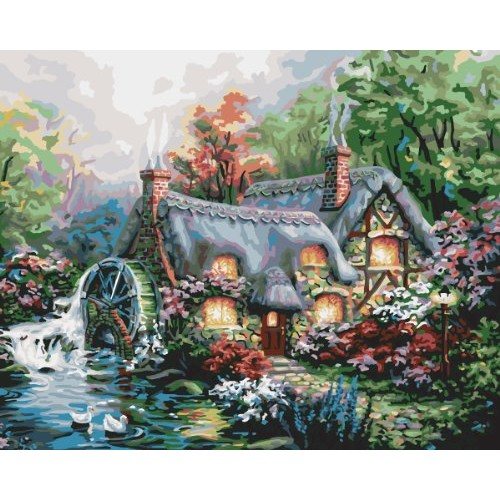 Plaid Creates Paint by Number Kit (16 by 20-Inch), 21707 Cottage Mill