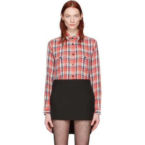 SAINT LAURENT Pink Classic Western Plaid Shirt