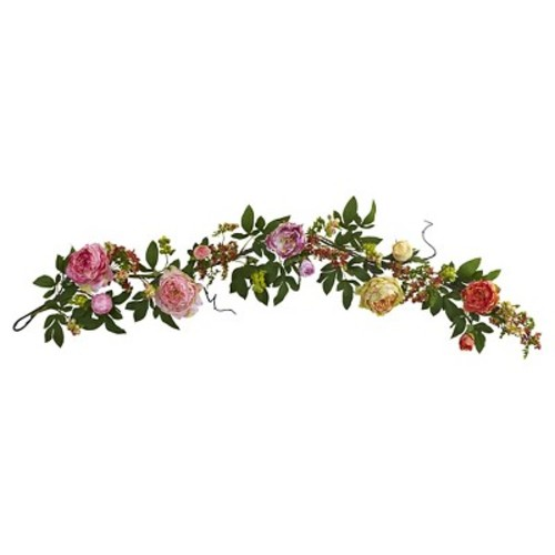 Nearly Natural 60'' Mixed Peony & Berry Garland