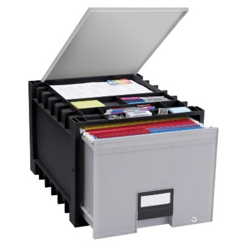 Storex Plastic Archive Storage Drawer with Lid Letter Size - Black