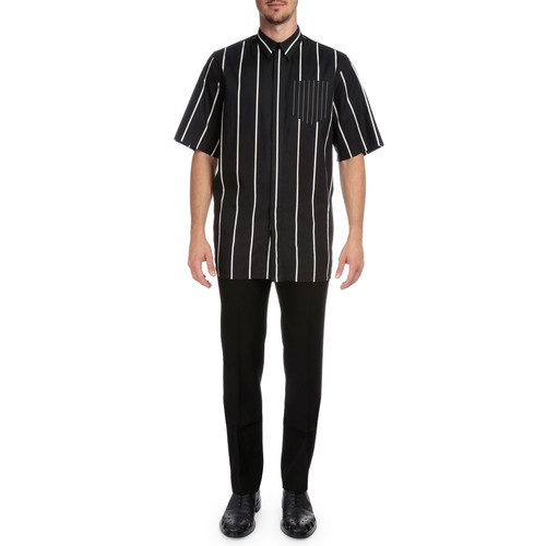 GIVENCHY Striped Button-Down Short-Sleeve Shirt, Black/White