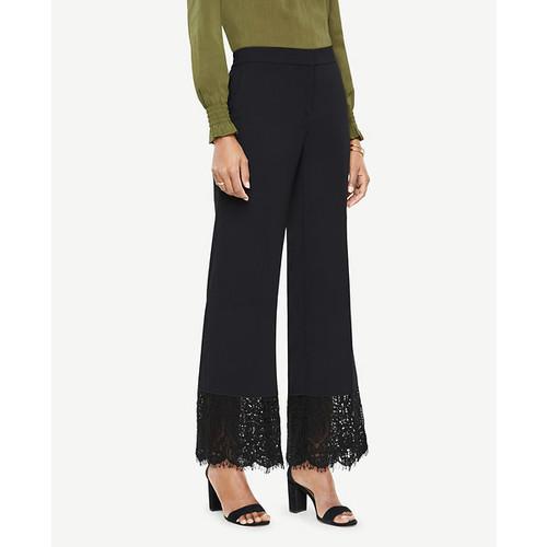 Ann Taylor Petite Cropped Lace Hem Pants