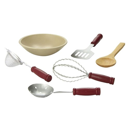 18 Doll Vintage Style Kitchen Tool Accessory Set. Includes Wood Bowl, Spatula, slotted Spoon, Whisk, Wooden Spoon, Strainer. Use with American Girl Kitchen, Pastry Shop Furniture, Food & Accessories