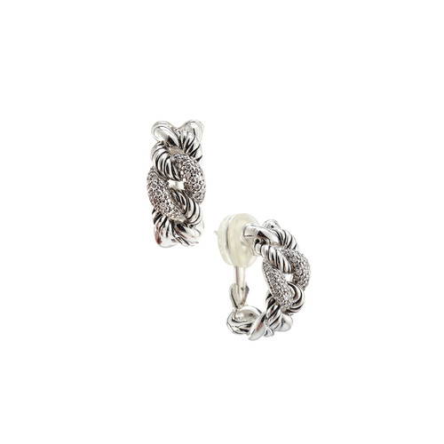 Belmont Curb Link Earrings with Diamonds