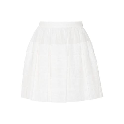 Pleated cotton mini skirt
