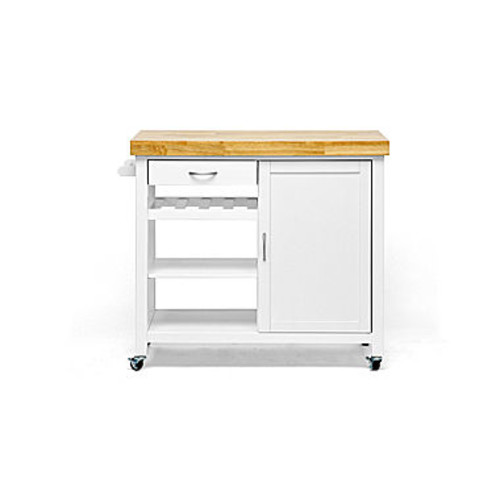Baxton Studio Denver Wood-Top Kitchen Cart