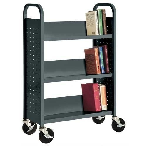 Sandusky Lee SL330-02 Single Sided Sloped Shelf Book Truck, 14