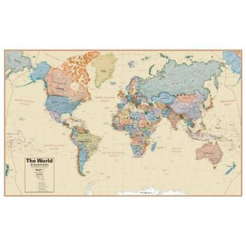 Hemispheres World Boardroom 1:27 Laminated Wall Map
