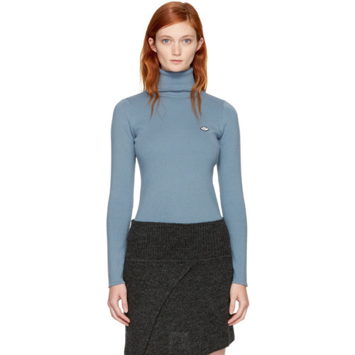 SEE BY CHLOÉ Blue Logo Turtleneck
