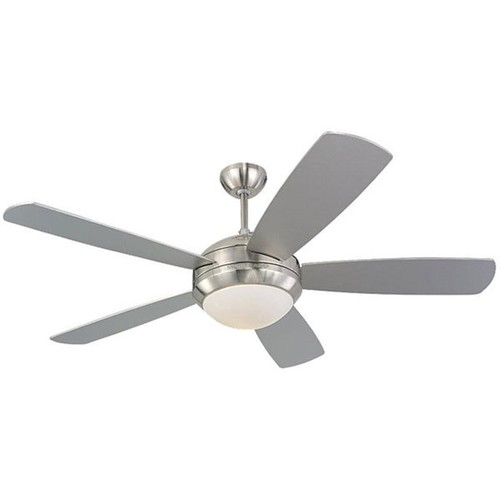 Monte Carlo Discus 52-inch Brushed Steel Finish Ceiling Fan