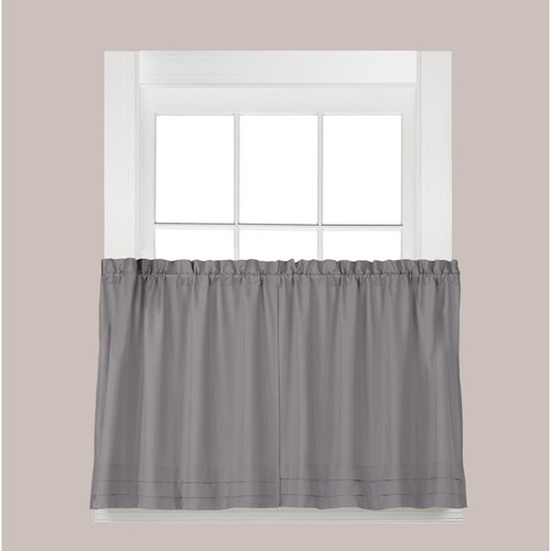 Saturday Knight Semi-Opaque Holden 36 in. L Polyester Tier Curtain in Dove Grey (2-Pack)