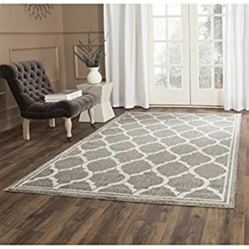 Safavieh Amherst Collection AMT415R Dark Grey and Beige Indoor/ Outdoor Area Rug