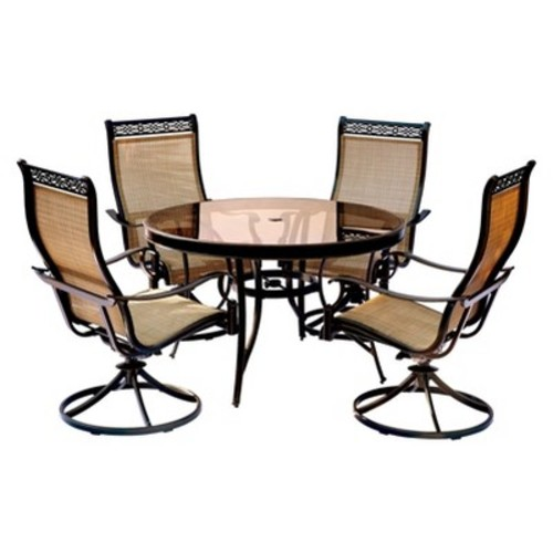 Hanover Monaco 5-Piece Aluminum Outdoor Dining Set with Round Glass-Top Table and Contoured Sling Swivel Chairs