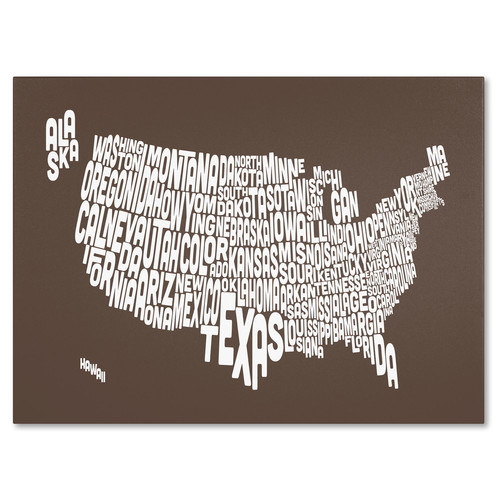 Trademark Global Michael Tompsett 'USA States Text Map - Coffee' Canvas Art [Overall Dimensions : 14x19]