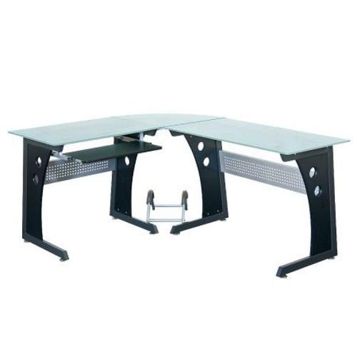 Techni Mobili L-Shaped Tempered Glass Top Computer Desk