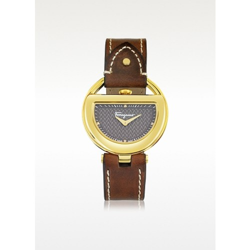 Buckle Collection Gold IP Stainless Steel Case and Brown Leather Strap Women's Watch