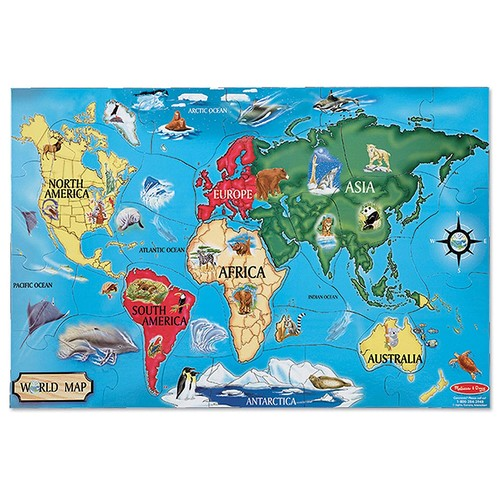 Melissa & Doug World Map Jumbo Jigsaw Floor Puzzle