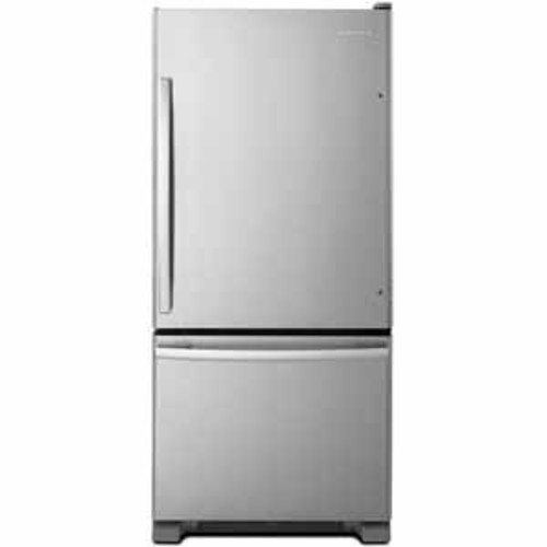 Amana 18 cu ft 29 Wide Bottom-Freezer Refrigerator With EasyFreezer Pull-Out Drawer - Stainless Steel