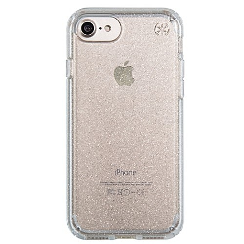 speck Presidio Glitter Case for iPhone 7 in Clear with Gold Glitter