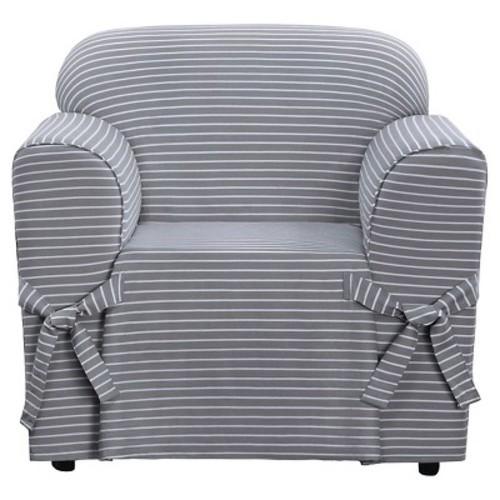 Horizontal Club Stripe Chair Slipcover Limestone Gray - Sure Fit