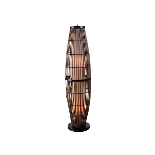 Kenroy Home 32248Rat Biscayne Outdoor Floor Lamp, Rattan Finish With Bronze Accents