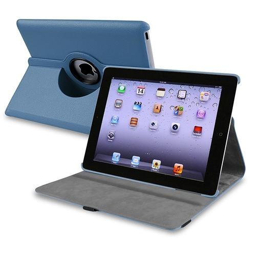 INSTEN 360-degree Swivel Leather Case For Apple iPad 2 / 3 / 4, Navy Blue