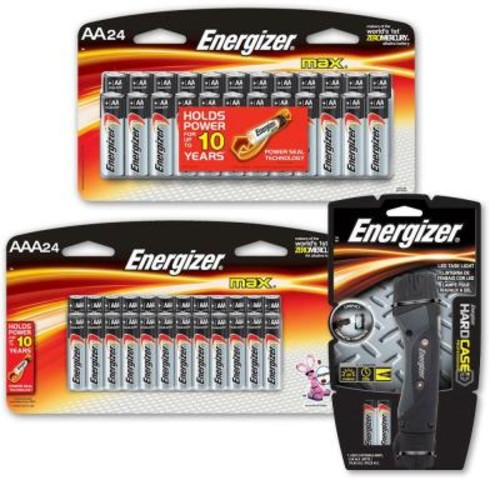 Energizer 24 AA and 24 AAA Battery Bundled with Hard Case Pro 2 AA LED Task Light