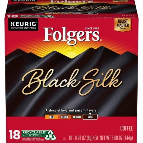 Folgers Gourmet Selections Black Silk Dark Roast Coffee K-Cup pods 18ct