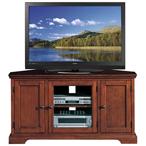 Leick Furniture Leick Riley Holliday Westwood Corner TV Stand with Storage, 46-Inch, Brown Cherry