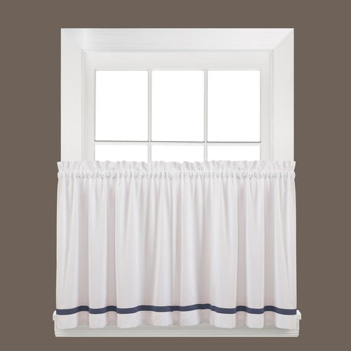 Saturday Knight Semi-Opaque Kate 36 in. L Polyester Tier Curtain in Blue (2-Pack)