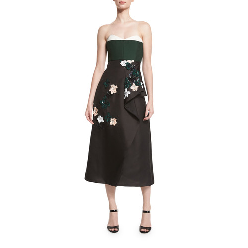J. MENDEL Strapless Sequin Lily-Embroidered Cocktail Dress, White/Spruce/Black
