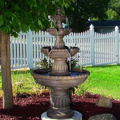 Sunnydaze Mediterranean 4 Tiered Outdoor Water Fountain - 49 Inch Tall