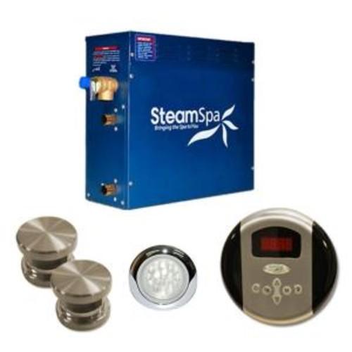 SteamSpa Indulgence 10.5kW Steam Bath Generator Package in Brushed Nickel