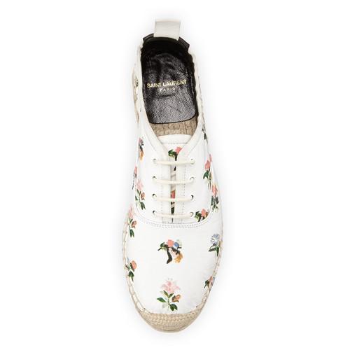 SAINT LAURENT Grunge Floral-Print Espadrille Sneaker, Blanc/Multi