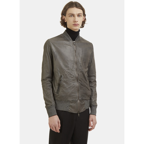 Leather Bomber Jacket in Grey