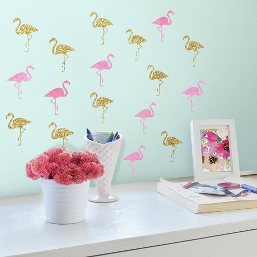 RoomMates 5 in. x 11.5 in. Flamingo 40-Piece Peel and Stick Wall Decals with Glitter