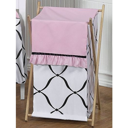 Sweet Jojo Designs Princess Black, White and Pink Collection Laundry Hamper