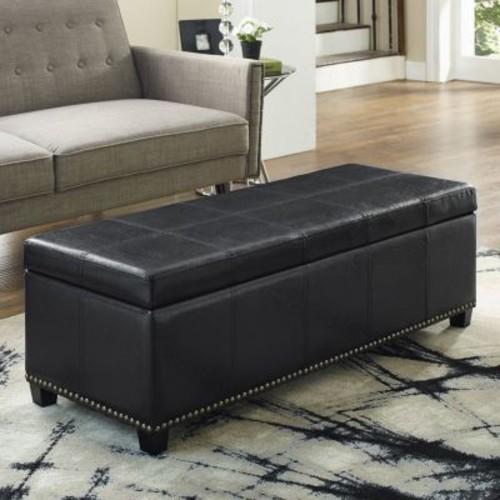 Simpli Home - Kingsley Rectangular Storage Ottoman Bench - Midnight Black