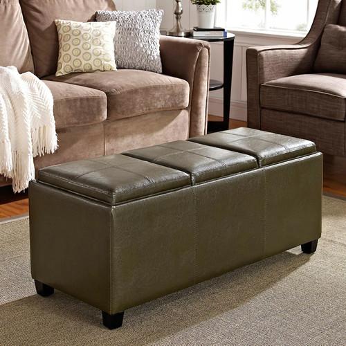 Simpli Home Avalon Faux-Leather Storage Ottoman