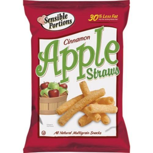 Sensible Portions Apple Straws, Cinnamon Apple, 1 oz. Bags, 8 Bags/Box