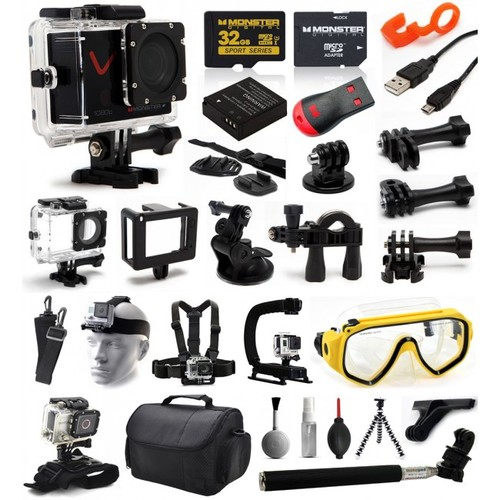Monster Villain 1080P 32GB LCD WiFi Waterproof Action Sport Camera Cam Bundle