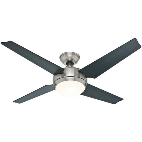 Hunter 59072 Sonic 52-Inch Brushed Nickel Ceiling Fan with Four Black/Maple Blades and Light Kit [Brushed Nickel]