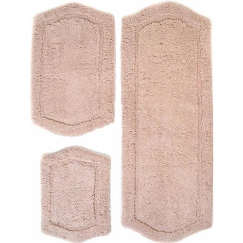 Chesapeake Merchandising 22 in. x 60 in., 21 in. x 34 in. and 17 in. x 24 in. 3-Piece Paradise Memory Foam Bath Rug Set in Taupe