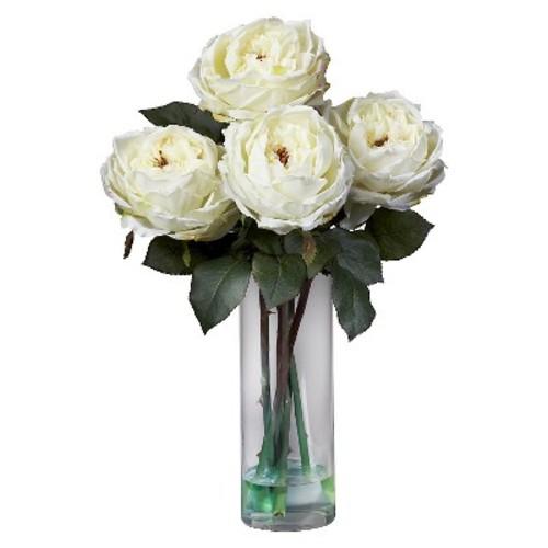 Nearly Natural Fancy Rose w/Cylinder Vase Silk Flower Arrangement