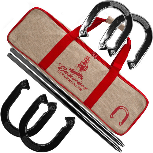 Trademark Global Budweiser Horseshoe Set with Carry Case